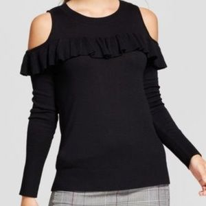Ruffle Cold shoulder light weight sweater